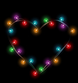Multicolored glassy lights like heart frame vector image vector image
