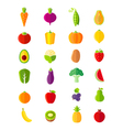 Organic fruits and vegetables flat style icons set vector image vector image