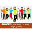 portrait of group of skiers vector image
