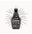 Retro Typography Bottle with Quote Drink vector image vector image