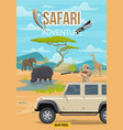safari adventure hunter and african animals vector image vector image