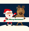 santa claus and deer on background of night sky vector image vector image