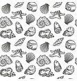 sea shells hand drawn sketch style pattern vector image