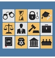 Set of law and justice flat icons vector image