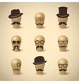 Set of retro mustaches hats and glasses vector image vector image