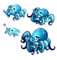 set of stages of growth of animated octopus vector image vector image
