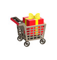 shopping supermarket cart vector image vector image