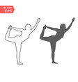 sketch woman gymnast handstand on a white vector image vector image