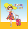 summer travel background summer time card girl vector image