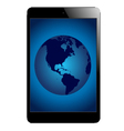 tablet with globe vector image vector image