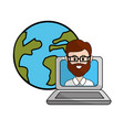 teacher class online in the laptop and global vector image vector image