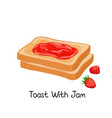 toast with jam and berries vector image vector image