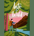 vintage poster - mountains and hiking man vector image