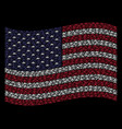waving united states flag stylization of military vector image vector image