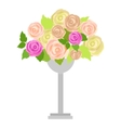 Wedding Bouquet of Pink White and Green Roses vector image vector image