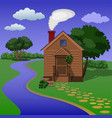 wooden village sauna on the river bank vector image
