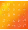 Kitchen Appliances and Cooking Line Icons Set over vector image