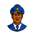 african american policeman mascot vector image
