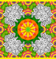 art round colorful ornament on a white green and vector image