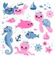 baby sea animals marine nautical set vector image