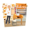 bakery shop baker holding menu of pastry food vector image