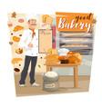bakery shop baker holding menu pastry food vector image vector image