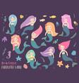 beautiful and cute mermaids vector image vector image