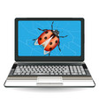 broken laptop computer destroy a bug vector image