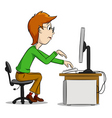 cartoon computer boy vector image
