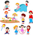 cartoon kids playing vector image vector image