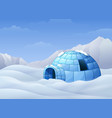 cartoon of igloo with mountains in winter vector image