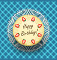 Cheese birthday cake with strawberries vector image vector image