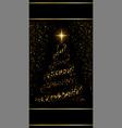 christmas tree black background gold christmas vector image