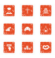 currency donation icons set grunge style vector image vector image