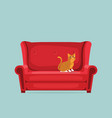 cute cat is sitting on red sofa vector image vector image