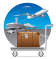 deliveryof luggage suitcase vector image vector image
