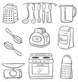 doodle of kitchen various object vector image