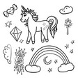 doodle unicorn rainbow stars magic wand vector image
