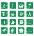 easter items icons set grunge vector image vector image