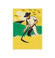 Farmer With Scythe Harvesting Field Retro vector image vector image