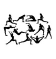 fitnees girl silhouettes vector image vector image