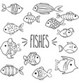 hand drawn fish outline vector image vector image