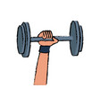 hand holding barbell sport icon vector image vector image