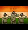 indian army soilder saluting falg india