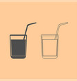 juice glass with drinking straw dark grey set vector image vector image