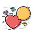 linear diamonds with heart and chat bubble icons vector image vector image
