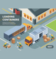 logistic concept warehouse loading containers vector image vector image