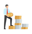 man saving money icon vector image vector image