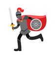 medieval amed knight character in red cape vector image vector image