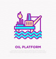oil platform thin line icon vector image vector image